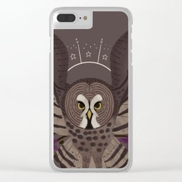 Familiar - Great Grey Owl Clear iPhone Case