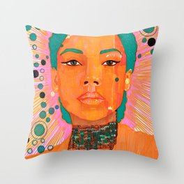 Portrait of a Lady Serene Dream Teal hair and bubbles Throw Pillow