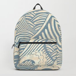 Abstract great waves vintage illustration pattern Backpack