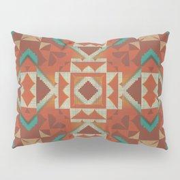 Orange Brown Teal Green Ethnic Mosaic Pattern Pillow Sham