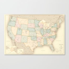 """Vintage map of the USA, high detail, """"librarian"""" Canvas Print"""