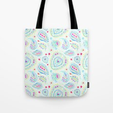 Watercolor Paisley Aqua Tote Bag