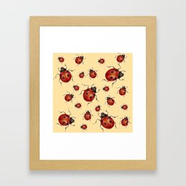 ABSTRACT RED LADY BUGS ON CREAM COLOR DESIGN ART Framed Art Print