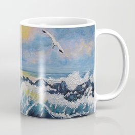 Impressionism Ocean Waves With Seagulls, Beach House Art and home decor Coffee Mug