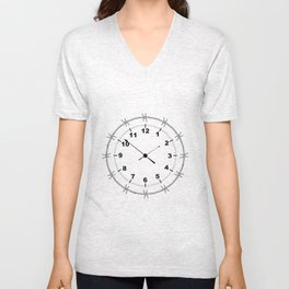 Barbed Wire Clock Unisex V-Neck