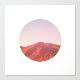 Mountain range photography in dark red, yellow and pink Canvas Print