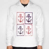 anchors Hoodies featuring Abundant Anchors by Isobel Woodcock Illustration