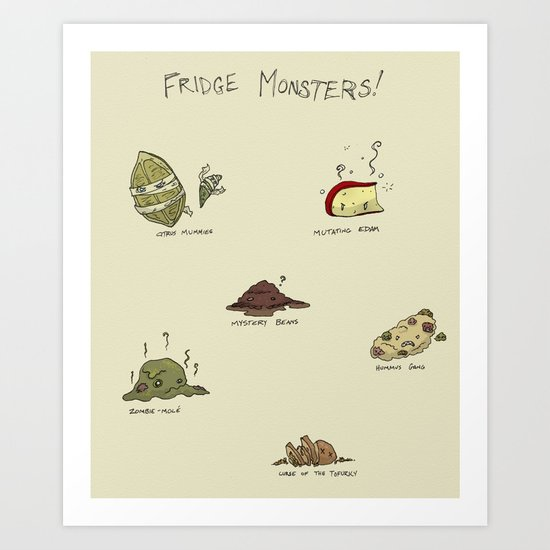 Fridge Monsters Art Print