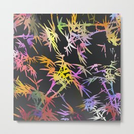 Abstract black colorful watercolor bamboo leaves plant pattern Metal Print