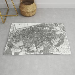 Vintage Map of Liverpool England (1890) BW Rug