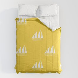 White Sailboat Pattern on yellow background Comforters