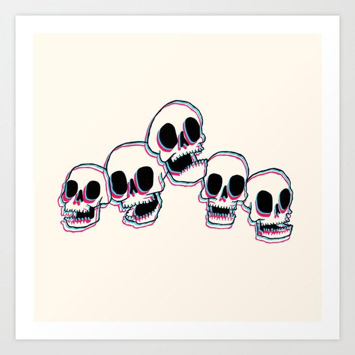 3D Skulls Art Print
