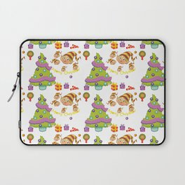 Hand painted green red Merry Christmas holiday typography pattern Laptop Sleeve