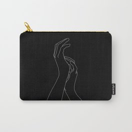Hands line drawing illustration - Carly Black Carry-All Pouch