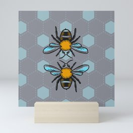 We are Bees - Scandinavian Color Pastel Blue Mini Art Print