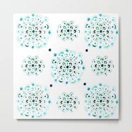 Blue and Green Bohemian Mandala Pattern Metal Print