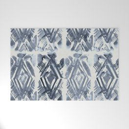 Simply Ikat Ink in Indigo Blue on Lunar Gray Welcome Mat