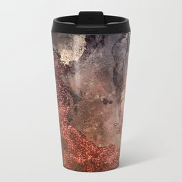 Copper Glitter Stone and Ink Abstract Gem Glamour Marble Metal Travel Mug