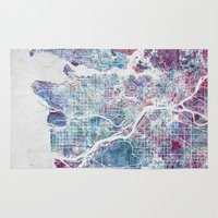 vancouver Area & Throw Rugs featuring Vancouver map by MapMapMaps.Watercolors