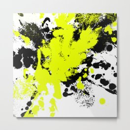Surprise! Black and yellow abstract paint splat artwork Metal Print