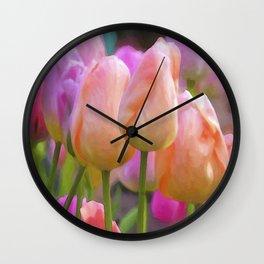 Spring Pastel Tulips Wall Clock