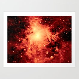Nebula Amber Red Art Print