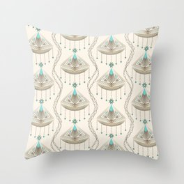 Beautiful medallions with blue appliqués . Throw Pillow