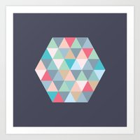 hexagon Art Prints featuring hexagon by vicenza