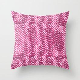 Hand Knit Hot Pink Throw Pillow