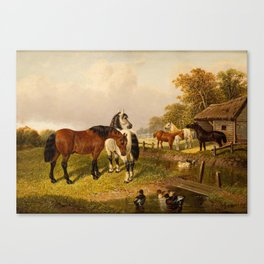 JOHN FREDERICK HERRING II (BRITISH 1820-1907) Horses by the Stables, circa 1866 Canvas Print