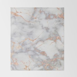 Gray Marble Rosegold  Glitter Pink Metallic Foil Style Throw Blanket