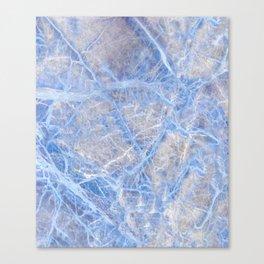 Light Blue Veined Grey Marble Canvas Print