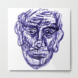 dabnotu, blue, ball point pen, illustration [1] Metal Print