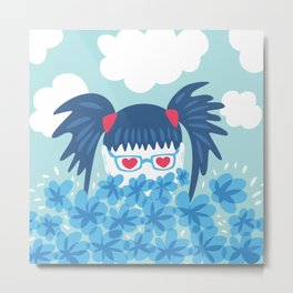 Geek Girl With Heart Shaped Eyes And Blue Flowers Metal Print