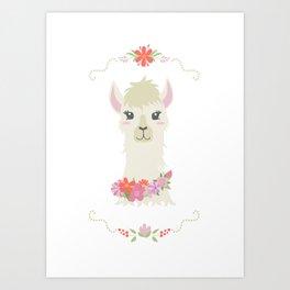 Floral Bust of a Llama Art Print