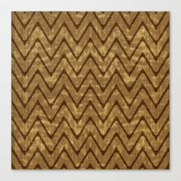 Faux Suede Chocolate Brown Chevron Pattern Canvas Print
