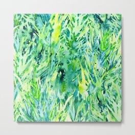 Jungle green watercolor Metal Print