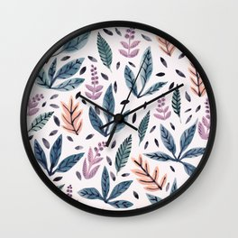 Painted Leaves Wall Clock