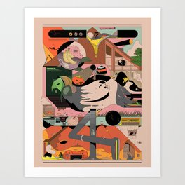 Modern Pizza Bird House Art Print