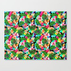 Flamingo and Tropical Pattern Canvas Print