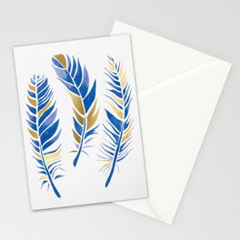 Watercolour Feathers - Navy and Gold Stationery Cards