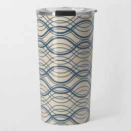 Blue Thin Overlapping Horizontal Lines Pattern on Beige - 2020 Color of the year Chinese Porcelain Travel Mug