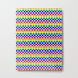 65 MCMLXV LGBT Denim Rainbow Checkerboard Pattern Metal Print