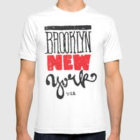 Brooklyn New York MEDIUM White Mens Fitted Tee
