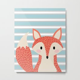Cute fox illustration with stripes blue white and orange Metal Print