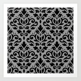 Scroll Damask Pattern Black on Gray Art Print