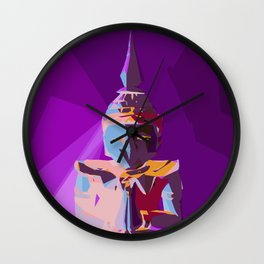 purple blue red and yellow buddhist style abstract background Wall Clock