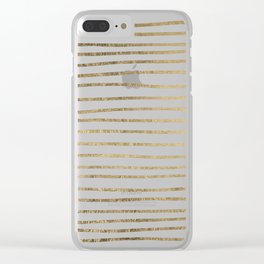 Elegant chic faux gold modern stripes pattern Clear iPhone Case
