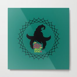 Witch Hair Don't Care-Teal Metal Print