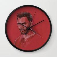 derek hale Wall Clocks featuring Derek in Red by Stormwolf Studios
